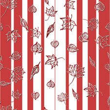 Free Seamless Pattern With Leaves On Striped Background Royalty Free Stock Image - 21784446