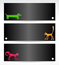 Black  Cards With Cats And Dog Royalty Free Stock Images
