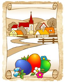 Colorful Easter Picture On Old Paper Royalty Free Stock Photography