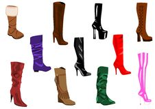 Women S Boots Collection Stock Image