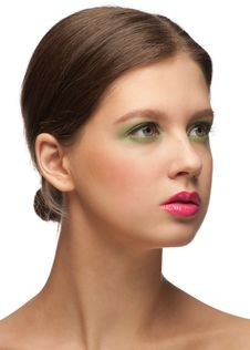 Woman With Bright Fashion Make-up Stock Photography