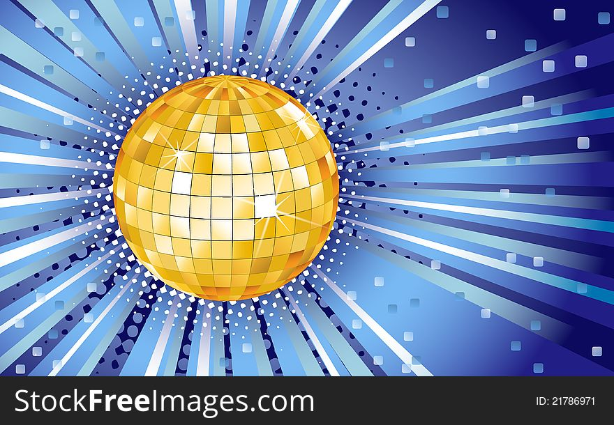 Blue background with disco ball