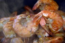 Free Scampy Shrimp Roasted On A Alder Smoke Fire Stock Image - 217838221
