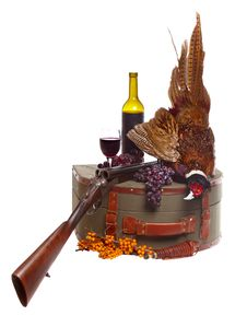 Free Pheasant, Suitcase, Shotgun On The White Backgroun Royalty Free Stock Photography - 21791097