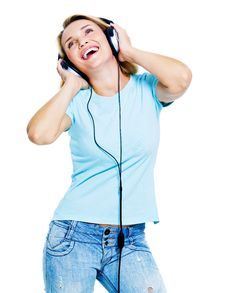 Free Happy Woman With Headphones Stock Photo - 21791570
