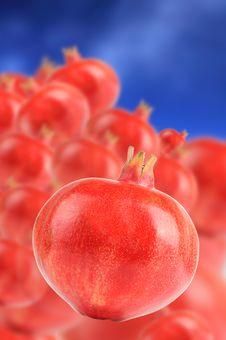 Free Pomegranates On  Sky Blue Background Stock Photos - 21794833