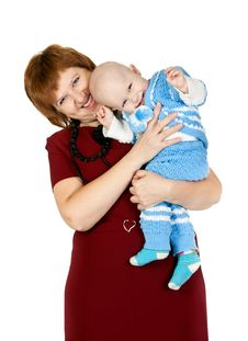 Free Grandmother With Her Grandson In The Studio Royalty Free Stock Image - 21795166