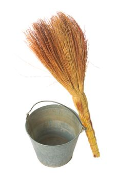 Free Old Vintage Traditional  Bucket, Broom. Stock Images - 21795854