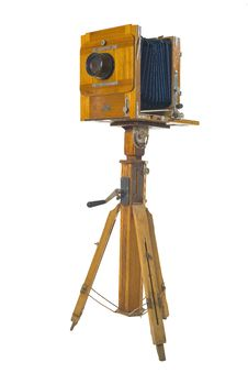 Free Wooden Camera On Tripod Stock Images - 21796034