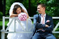 Free Bride And Groom On The Bench In Park Stock Images - 21796154