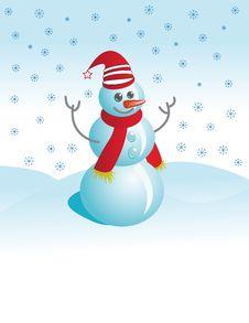 Cheerful Snowman Against Snow Stock Photography