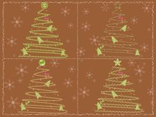 Free Brown Card With Four Stylized Chrismtas Trees Stock Images - 21797064