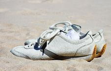 Free Sneekers In Sand Stock Photography - 2180532