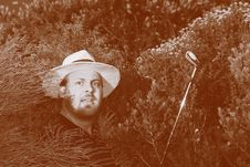 Shocked Golfer In The Bush. Royalty Free Stock Photo