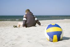 Free Boy With Volleyball On Beach Stock Photos - 2181873