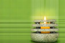 Free Stone Candle On Green Royalty Free Stock Image - 2184006