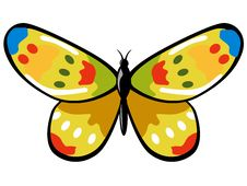 Colourful Yellow Butterfly Royalty Free Stock Photos