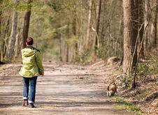 Free Woman Walking Dog Royalty Free Stock Images - 2185999