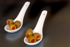 Free Stuffed Green Olives In Two Wh Stock Images - 2186894