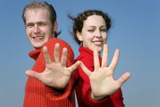 Free Couple With Fingers Royalty Free Stock Photography - 2187317