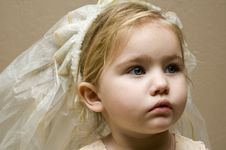 Infant With Veil On Head Royalty Free Stock Image