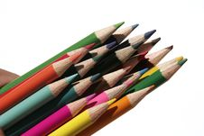 Set Of Coloured Pencils Royalty Free Stock Photos