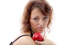 Free Girl With An Apple Royalty Free Stock Photography - 2189717