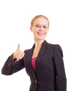Free Business Woman With Thumb Up Stock Images - 21805464