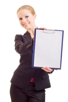 Free Business Woman With A Represent Folder Royalty Free Stock Photo - 21805475