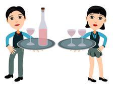 Free Waiter And Waitress Royalty Free Stock Photo - 21805895