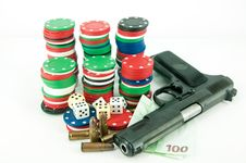 Gun, Chips And Money Royalty Free Stock Photo