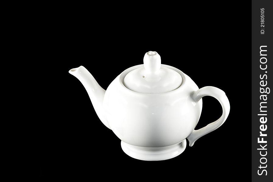 White ceramic teapot pitcher
