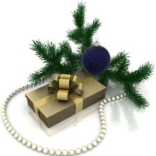 Free Christmas Gift With Branch Firtree Royalty Free Stock Photography - 21810077