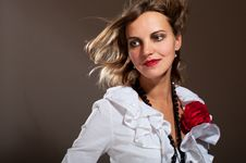 Free Daydreamed Woman In White Blouse Stock Photos - 21810863