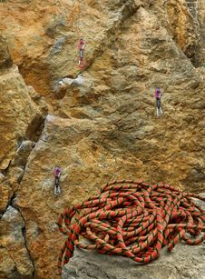 Climbing Rope And Rock Stock Photos