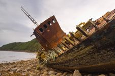 Free Fishing Boat Wreck Close Up Royalty Free Stock Image - 21813886
