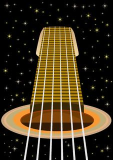 Free The Guitar And The Starry Sky Stock Images - 21819154