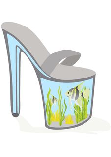 Shoes - An Aquarium With Fish Stock Photography