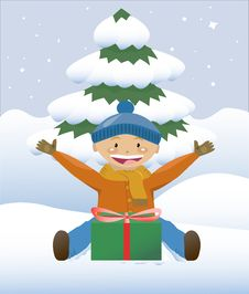 Free Boy With A Christmas Gift Royalty Free Stock Photo - 21819365