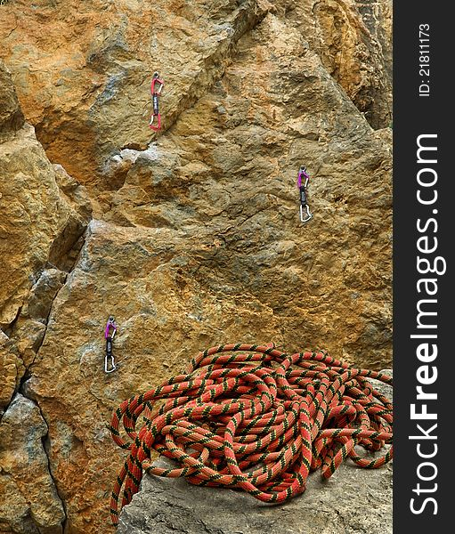 Climbing rope and rock