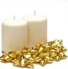 Free Two Candles With Gold Bows Stock Photos - 21822013