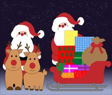 Christmas Santa, Reindeer Elements Stock Images