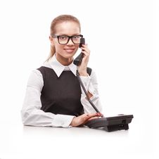 Free Business Woman With Phone Royalty Free Stock Images - 21831999