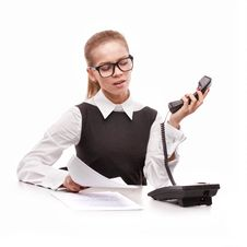 Free Business Woman With Phone Royalty Free Stock Photo - 21832015