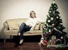 Free Young Woman Near A Fir-tree, Toned Image Stock Photo - 21836460