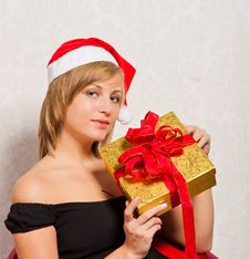 Free Young Woman With Gold Box Royalty Free Stock Photos - 21836508