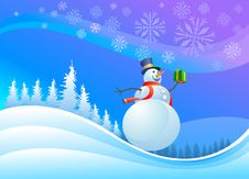 Free Snowman With Christmas Gifts Stock Photos - 21836563