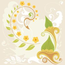 Free A Grunge And Swirl Floral Background Royalty Free Stock Image - 21837856