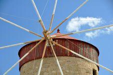 Greek Windmill Stock Photo