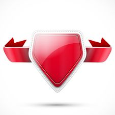 Label With Red Ribbon Royalty Free Stock Images